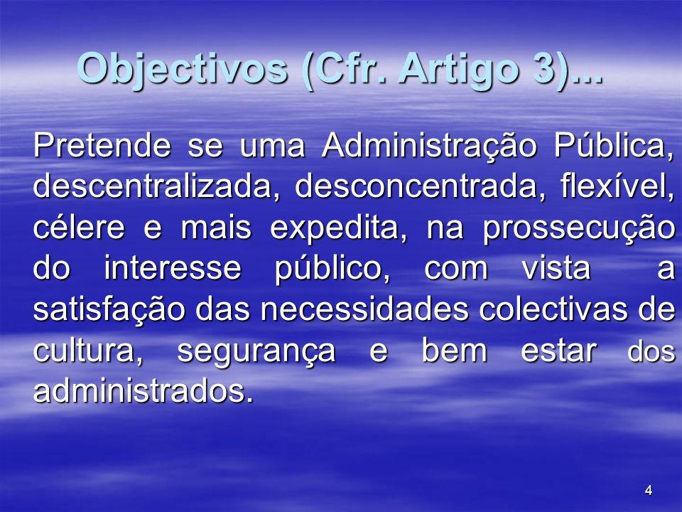 4 Objectivos (Cfr. Artigo 3)... Pretende se uma Administração Pública, descentralizada, desconcentrada, flexível, célere e mais expedita, na prossecuç