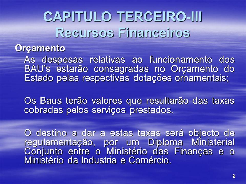 9 CAPITULO TERCEIRO-III Recursos Financeiros Orçamento As despesas relativas ao funcionamento dos BAUs estarão consagradas no Orçamento do Estado pela