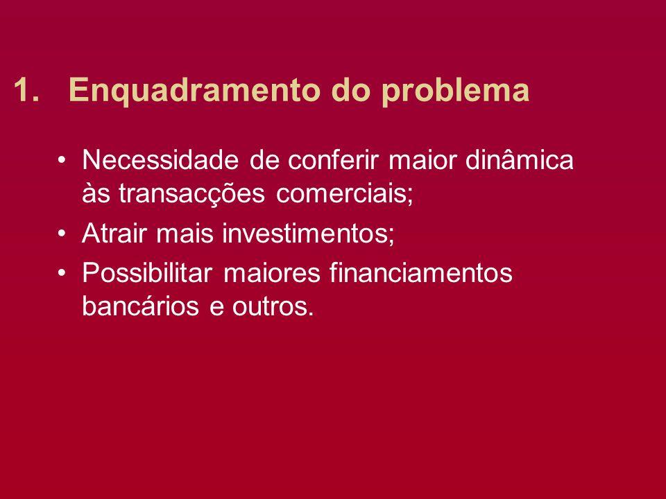 1.Enquadramento do problema Necessidade de conferir maior dinâmica às transacções comerciais; Atrair mais investimentos; Possibilitar maiores financiamentos bancários e outros.