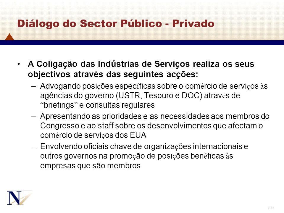 100 Diálogo do Sector Público - Privado A Coligação das Indústrias de Serviços realiza os seus objectivos através das seguintes acções: –Advogando pos