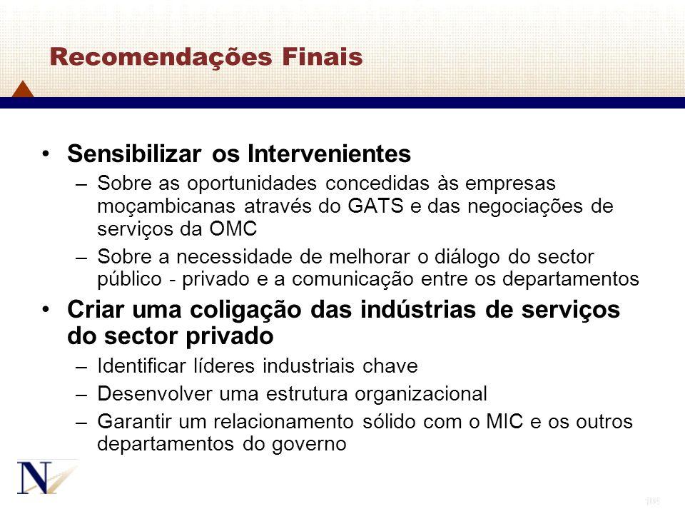 104 Recomendações Finais Sensibilizar os Intervenientes –Sobre as oportunidades concedidas às empresas moçambicanas através do GATS e das negociações