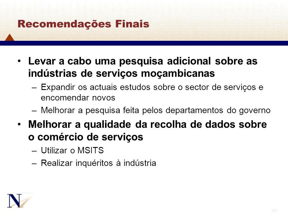 105 Recomendações Finais Levar a cabo uma pesquisa adicional sobre as indústrias de serviços moçambicanas –Expandir os actuais estudos sobre o sector