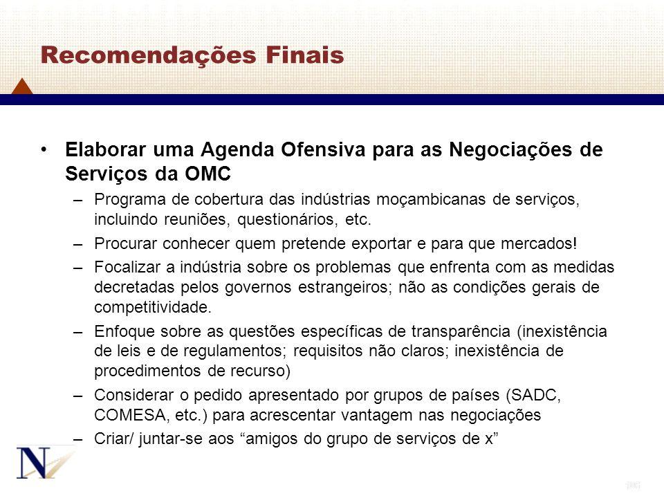 106 Recomendações Finais Elaborar uma Agenda Ofensiva para as Negociações de Serviços da OMC –Programa de cobertura das indústrias moçambicanas de ser
