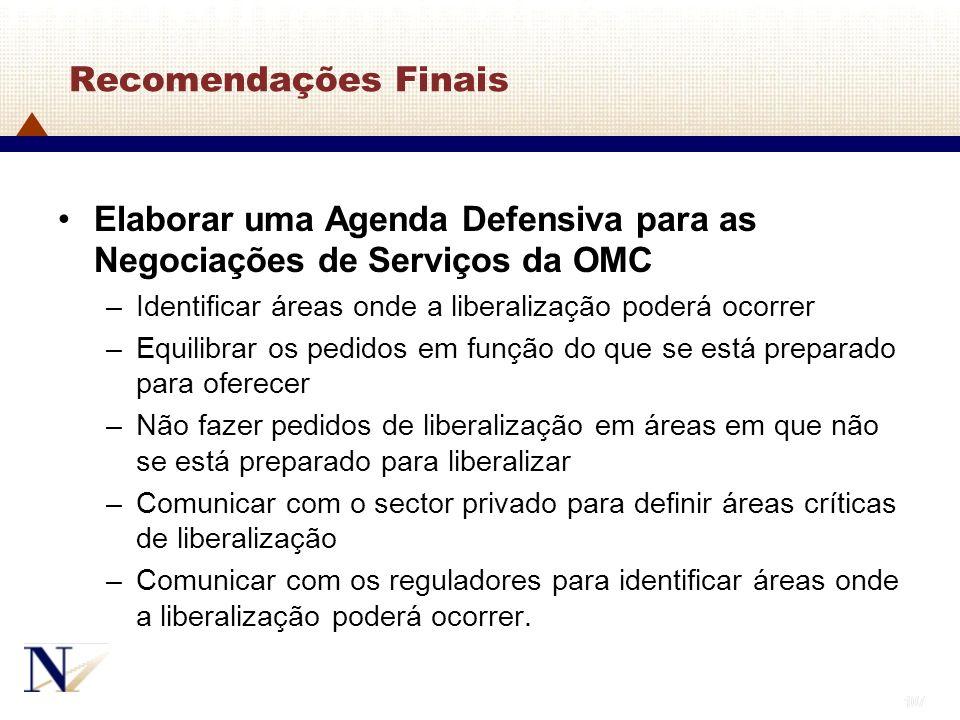 107 Recomendações Finais Elaborar uma Agenda Defensiva para as Negociações de Serviços da OMC –Identificar áreas onde a liberalização poderá ocorrer –