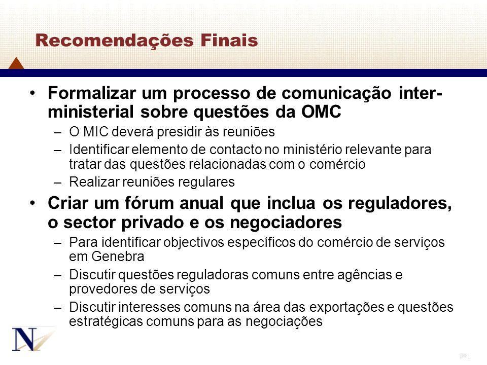108 Recomendações Finais Formalizar um processo de comunicação inter- ministerial sobre questões da OMC –O MIC deverá presidir às reuniões –Identifica