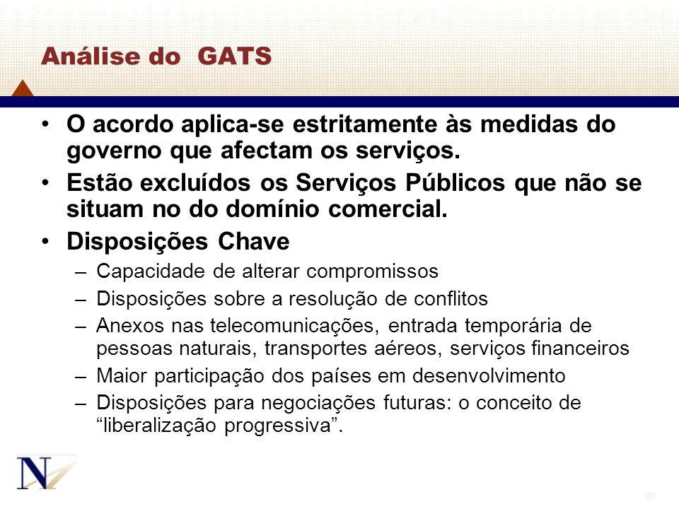 19 Análise do GATS O acordo aplica-se estritamente às medidas do governo que afectam os serviços. Estão excluídos os Serviços Públicos que não se situ