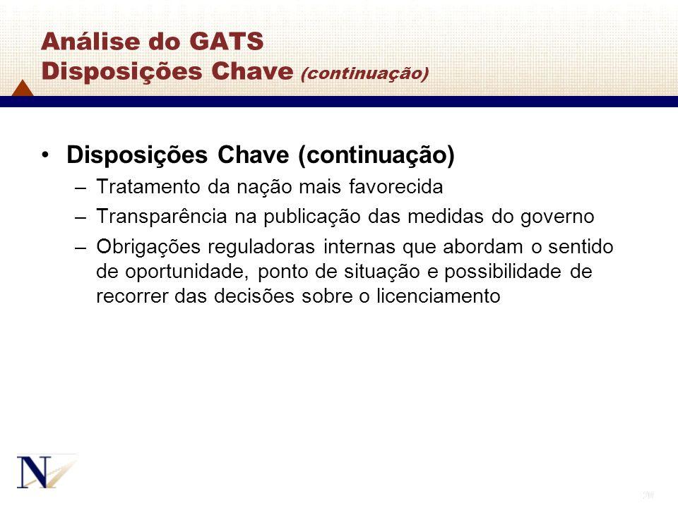 20 Análise do GATS Disposições Chave (continuação) Disposições Chave (continuação) –Tratamento da nação mais favorecida –Transparência na publicação d