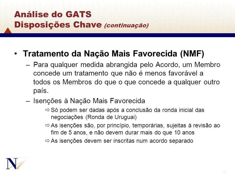 21 Análise do GATS Disposições Chave (continuação) Tratamento da Nação Mais Favorecida (NMF) –Para qualquer medida abrangida pelo Acordo, um Membro co