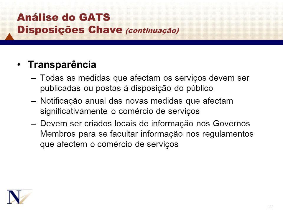 22 Análise do GATS Disposições Chave (continuação) Transparência –Todas as medidas que afectam os serviços devem ser publicadas ou postas à disposição