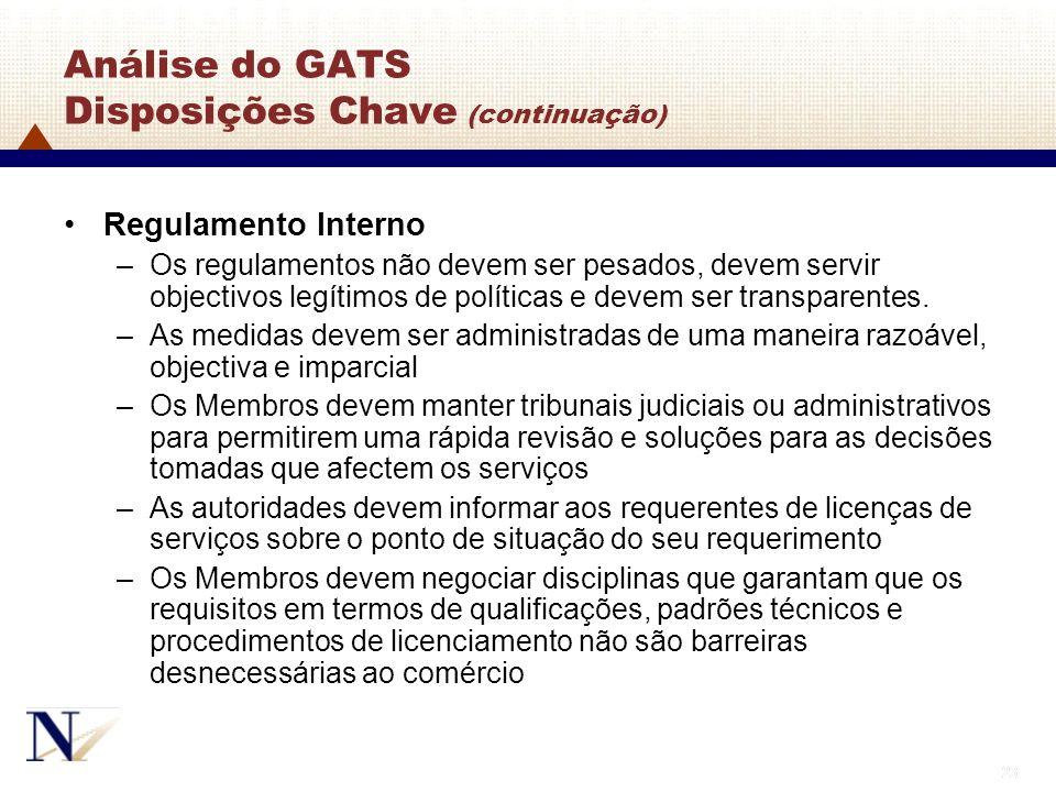 23 Análise do GATS Disposições Chave (continuação) Regulamento Interno –Os regulamentos não devem ser pesados, devem servir objectivos legítimos de po