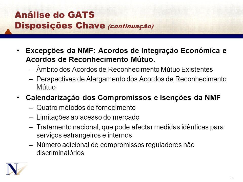 24 Análise do GATS Disposições Chave (continuação) Excepções da NMF: Acordos de Integração Económica e Acordos de Reconhecimento Mútuo. –Âmbito dos Ac