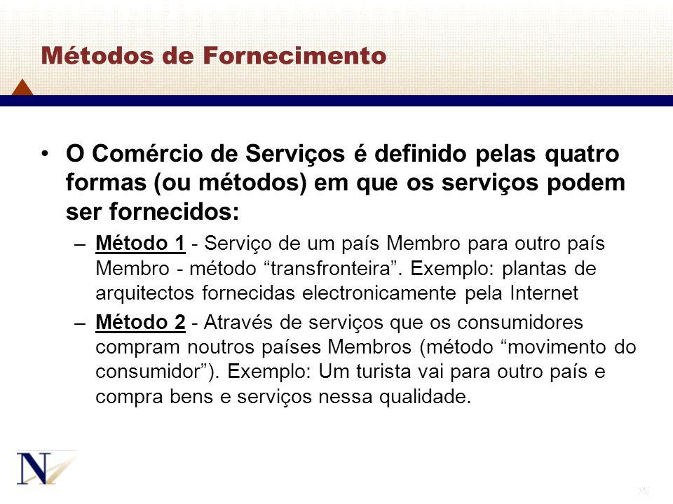 25 Métodos de Fornecimento O Comércio de Serviços é definido pelas quatro formas (ou métodos) em que os serviços podem ser fornecidos: –Método 1 - Ser