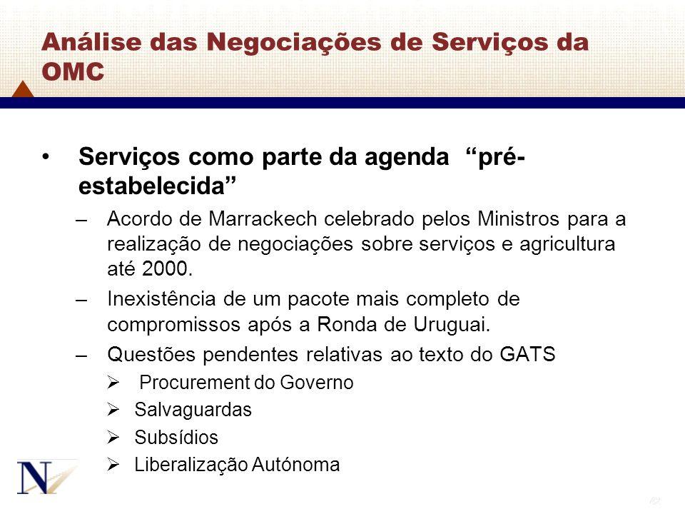 42 Análise das Negociações de Serviços da OMC Serviços como parte da agenda pré- estabelecida –Acordo de Marrackech celebrado pelos Ministros para a r