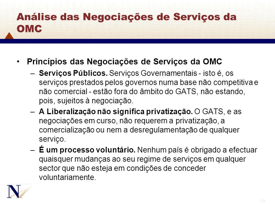 43 Análise das Negociações de Serviços da OMC Princípios das Negociações de Serviços da OMC –Serviços Públicos. Serviços Governamentais - isto é, os s