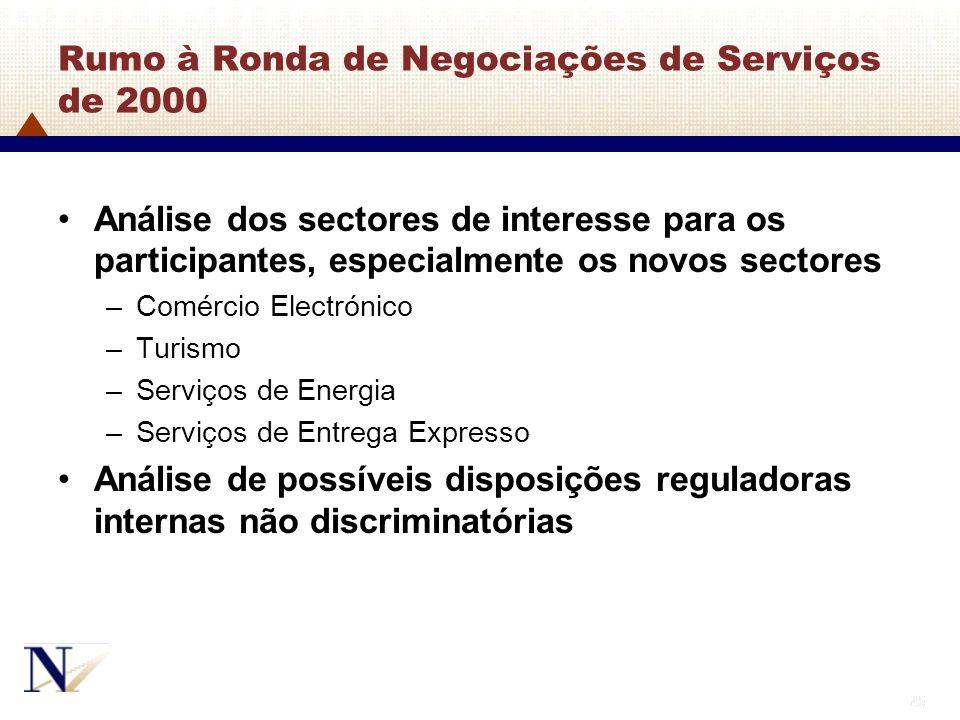 45 Rumo à Ronda de Negociações de Serviços de 2000 Análise dos sectores de interesse para os participantes, especialmente os novos sectores –Comércio