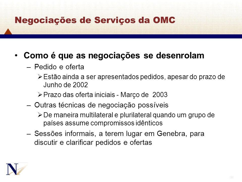 50 Negociações de Serviços da OMC Como é que as negociações se desenrolam –Pedido e oferta Estão ainda a ser apresentados pedidos, apesar do prazo de