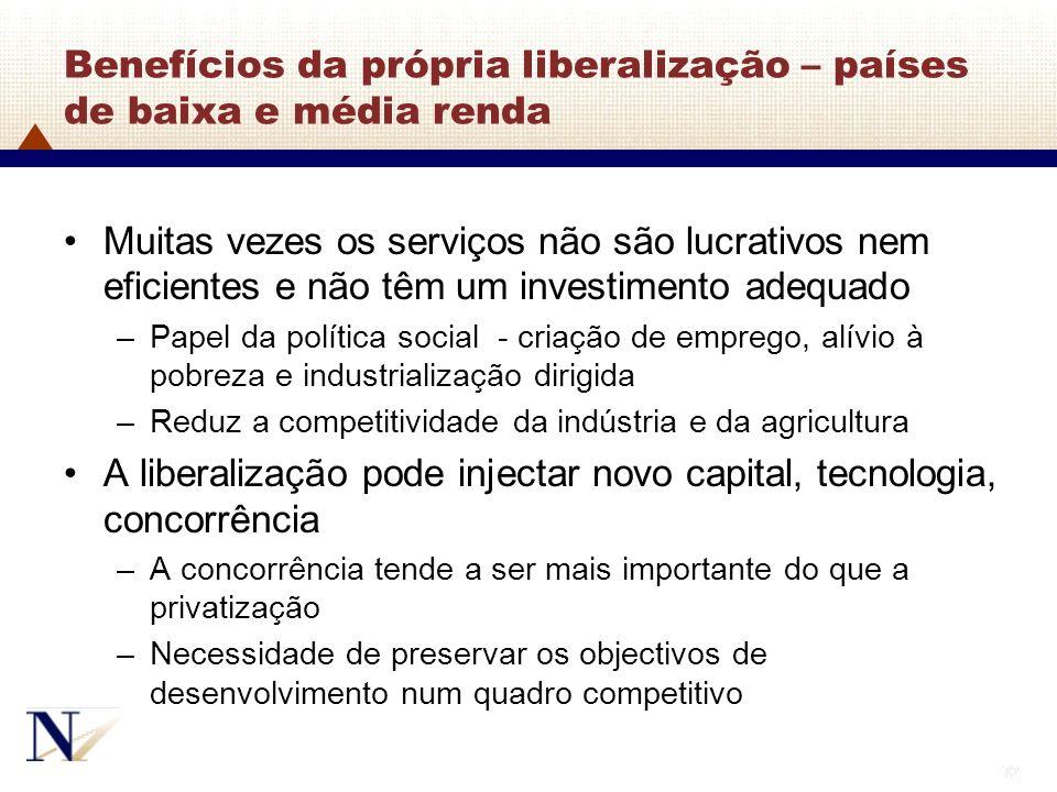 72 Benefícios da própria liberalização – países de baixa e média renda Muitas vezes os serviços não são lucrativos nem eficientes e não têm um investi