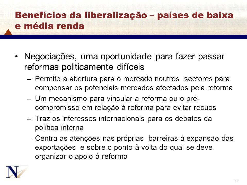73 Benefícios da liberalização – países de baixa e média renda Negociações, uma oportunidade para fazer passar reformas politicamente difíceis –Permit