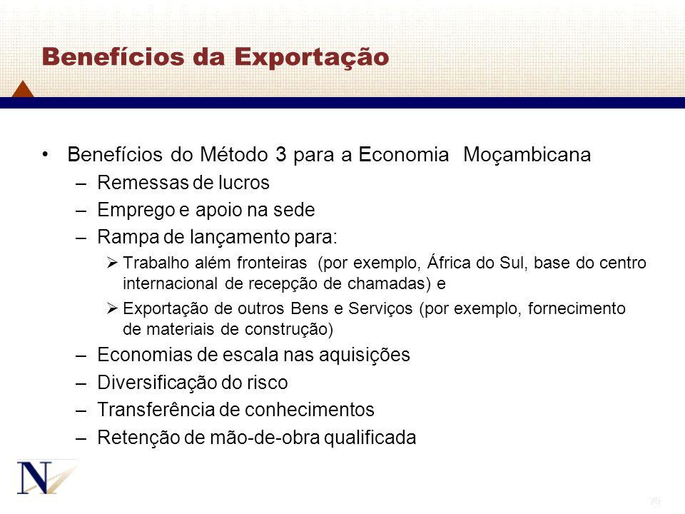 75 Benefícios da Exportação Benefícios do Método 3 para a Economia Moçambicana –Remessas de lucros –Emprego e apoio na sede –Rampa de lançamento para: