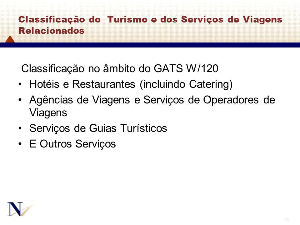 78 Classificação do Turismo e dos Serviços de Viagens Relacionados Classificação no âmbito do GATS W/120 Hotéis e Restaurantes (incluindo Catering) Ag