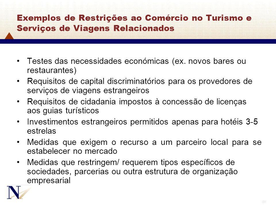 80 Exemplos de Restrições ao Comércio no Turismo e Serviços de Viagens Relacionados Testes das necessidades económicas (ex. novos bares ou restaurante