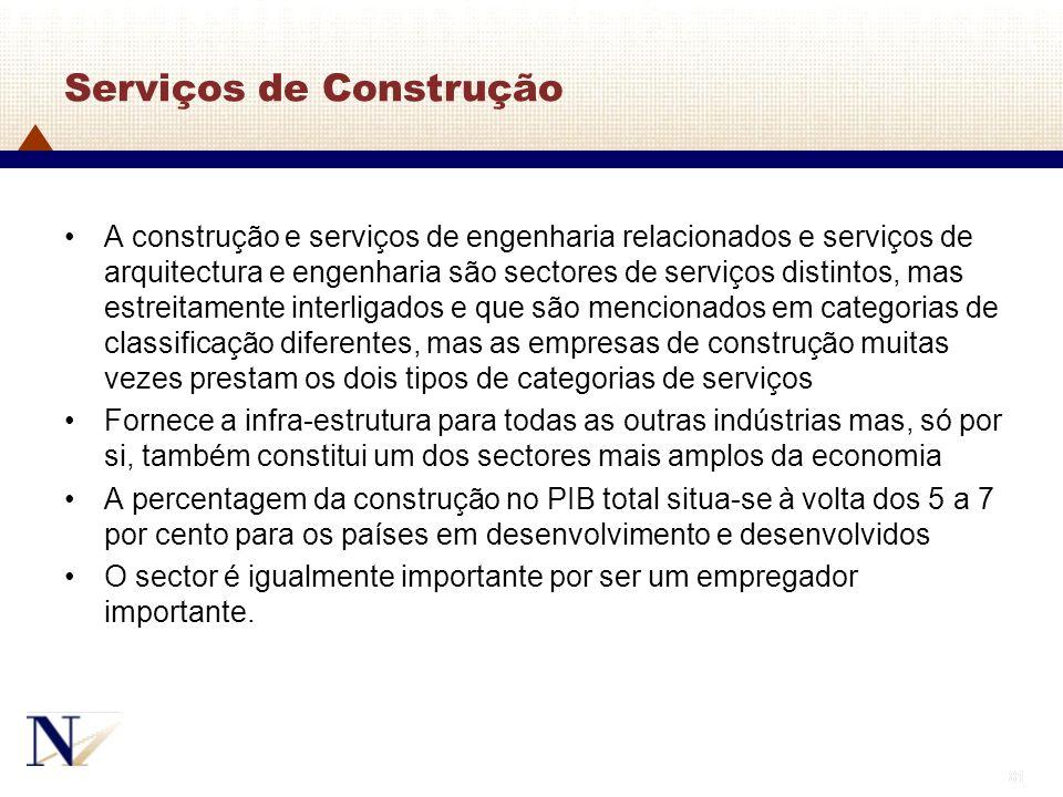 81 Serviços de Construção A construção e serviços de engenharia relacionados e serviços de arquitectura e engenharia são sectores de serviços distinto