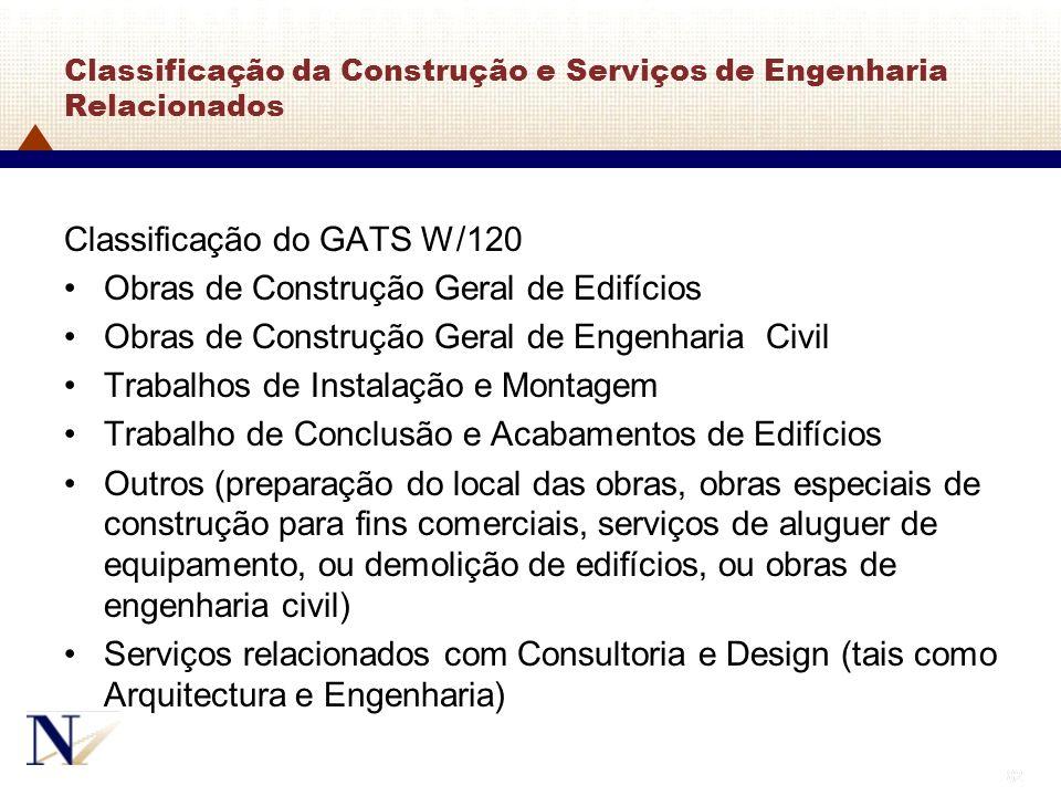 82 Classificação da Construção e Serviços de Engenharia Relacionados Classificação do GATS W/120 Obras de Construção Geral de Edifícios Obras de Const