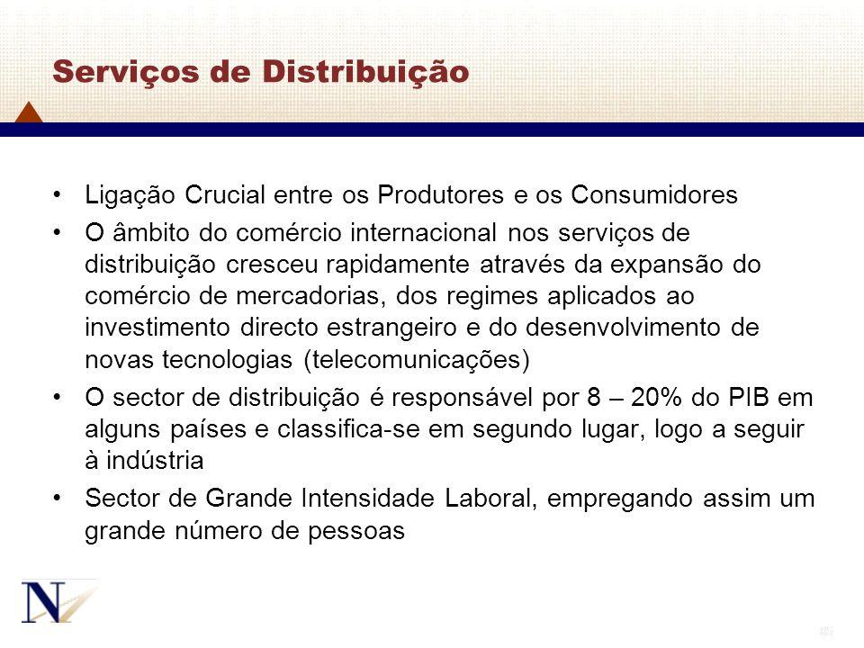 85 Serviços de Distribuição Ligação Crucial entre os Produtores e os Consumidores O âmbito do comércio internacional nos serviços de distribuição cres