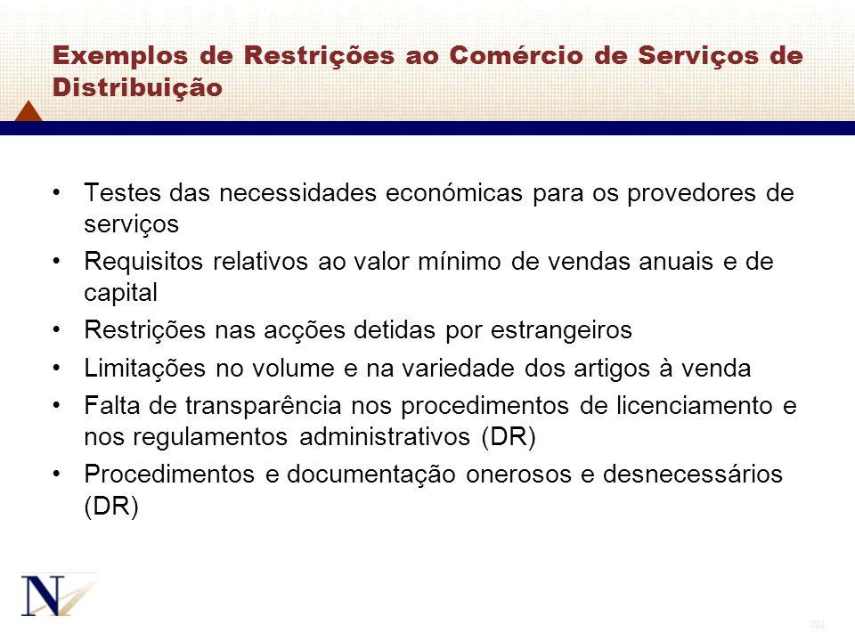 88 Exemplos de Restrições ao Comércio de Serviços de Distribuição Testes das necessidades económicas para os provedores de serviços Requisitos relativ