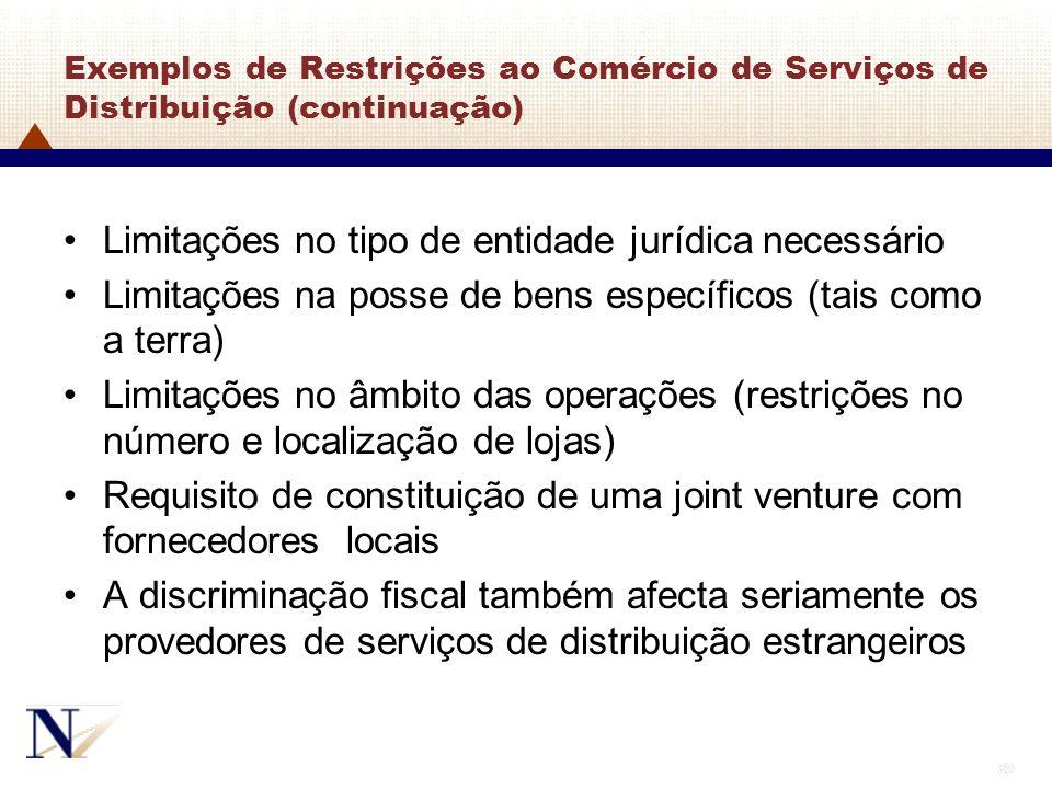 89 Exemplos de Restrições ao Comércio de Serviços de Distribuição (continuação) Limitações no tipo de entidade jurídica necessário Limitações na posse
