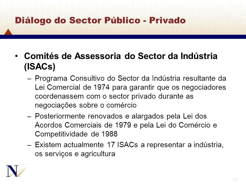 96 Diálogo do Sector Público - Privado Comités de Assessoria do Sector da Indústria (ISACs) –Programa Consultivo do Sector da Indústria resultante da