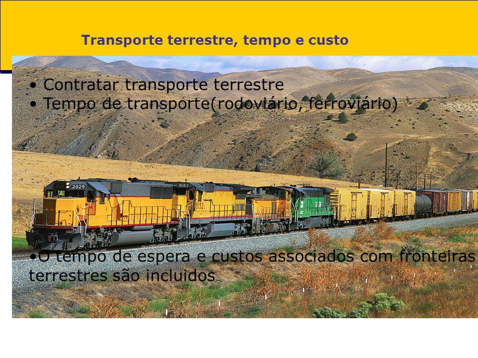 Transporte terrestre, tempo e custo Contratar transporte terrestre Tempo de transporte(rodoviário, ferroviário) O tempo de espera e custos associados com fronteiras terrestres são incluidos