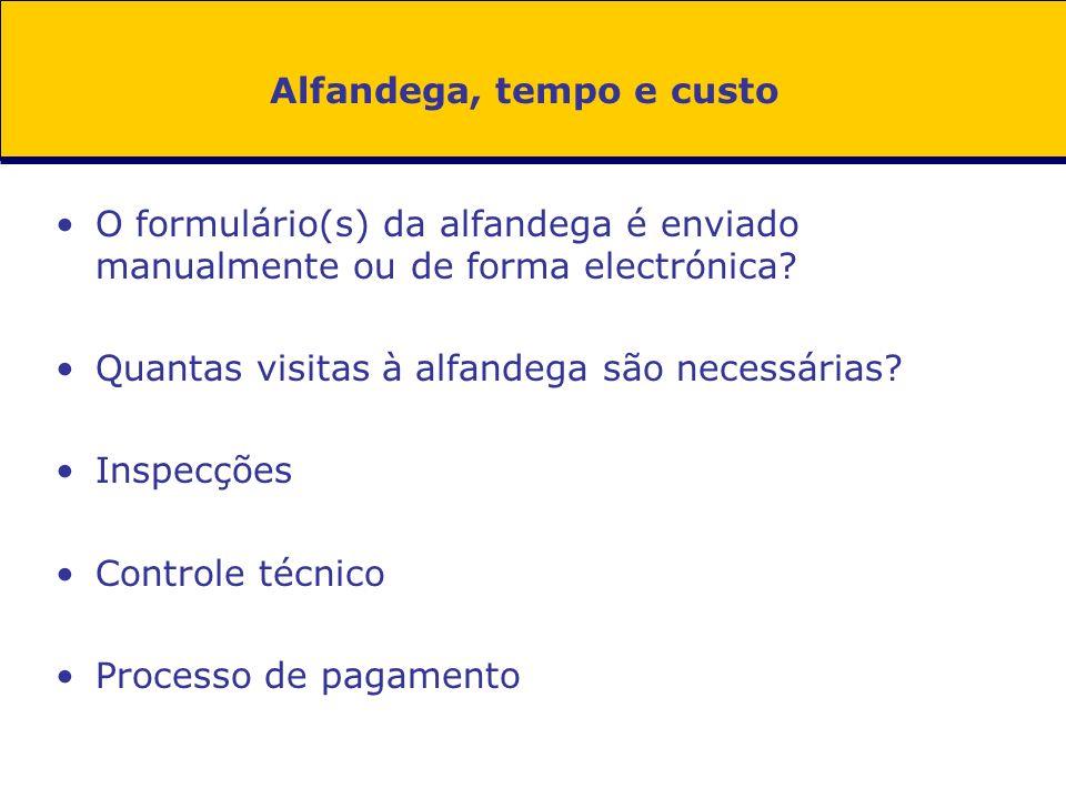 Alfandega, tempo e custo O formulário(s) da alfandega é enviado manualmente ou de forma electrónica.