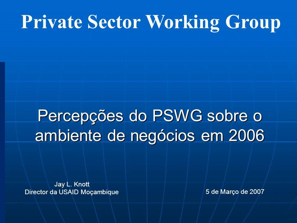 Private Sector Working Group Percepções do PSWG sobre o ambiente de negócios em 2006 5 de Março de 2007 Jay L. Knott Director da USAID Moçambique