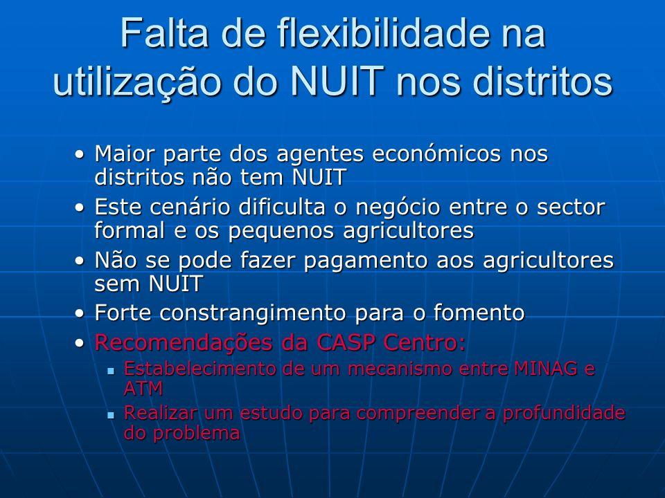 Falta de flexibilidade na utilização do NUIT nos distritos Maior parte dos agentes económicos nos distritos não tem NUITMaior parte dos agentes económ