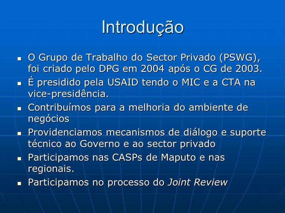 Introdução O Grupo de Trabalho do Sector Privado (PSWG), foi criado pelo DPG em 2004 após o CG de 2003. O Grupo de Trabalho do Sector Privado (PSWG),