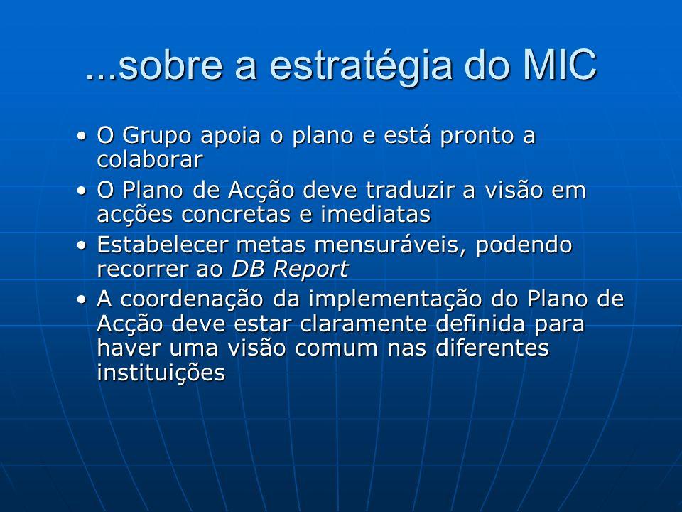 ...sobre a estratégia do MIC O Grupo apoia o plano e está pronto a colaborarO Grupo apoia o plano e está pronto a colaborar O Plano de Acção deve trad