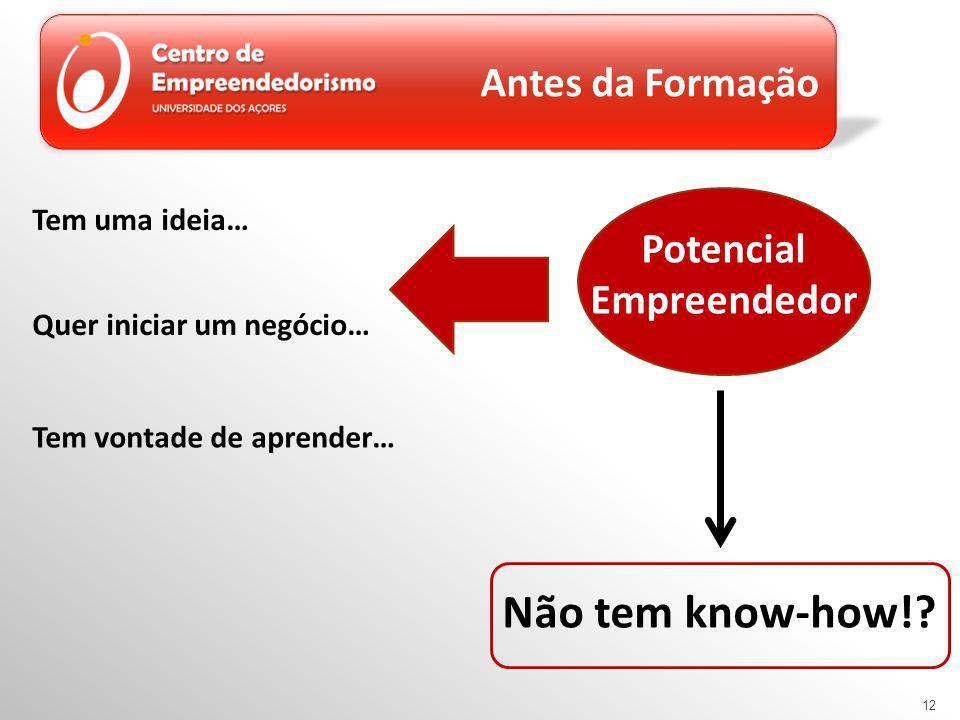 12 Antes da Formação Potencial Empreendedor Tem uma ideia… Quer iniciar um negócio… Tem vontade de aprender… Não tem know-how!