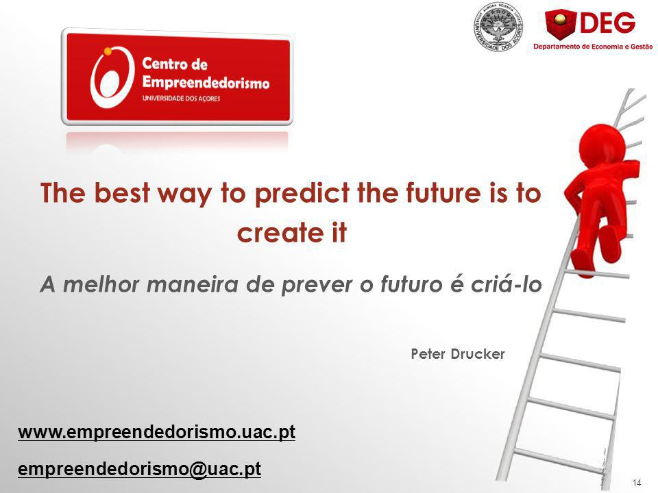14 The best way to predict the future is to create it A melhor maneira de prever o futuro é criá-lo Peter Drucker www.empreendedorismo.uac.pt empreendedorismo@uac.pt