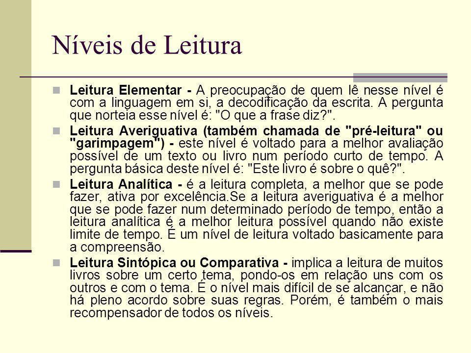 Níveis de Leitura Leitura Elementar - A preocupação de quem lê nesse nível é com a linguagem em si, a decodificação da escrita. A pergunta que norteia