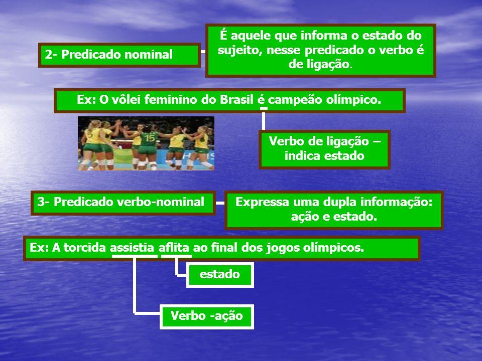 2- Predicado nominal É aquele que informa o estado do sujeito, nesse predicado o verbo é de ligação. Ex: O vôlei feminino do Brasil é campeão olímpico