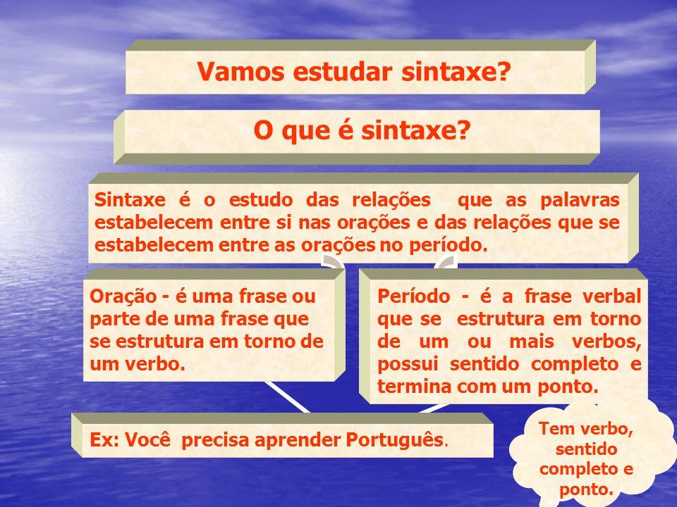 Ex: Você precisa aprender Português. Vamos estudar sintaxe? O que é sintaxe? Sintaxe é o estudo das relações que as palavras estabelecem entre si nas