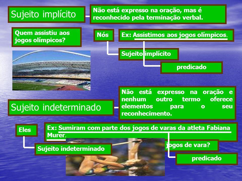O sujeito indeterminado ocorre em dois casos: O verbo na terceira pessoa do plural sem sujeito expresso: Ex: Sumiram com parte dos jogos de varas da atleta Fabiana Murer.