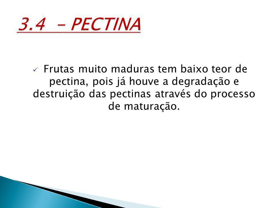 Frutas muito maduras tem baixo teor de pectina, pois já houve a degradação e destruição das pectinas através do processo de maturação.