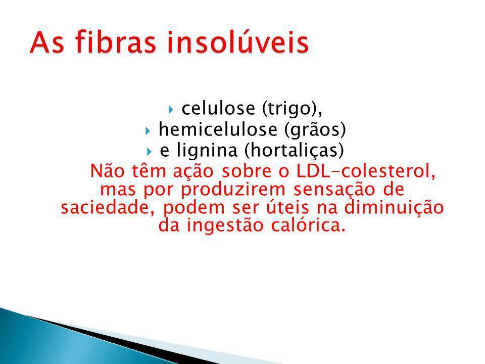 celulose (trigo), hemicelulose (grãos) e lignina (hortaliças) Não têm ação sobre o LDL-colesterol, mas por produzirem sensação de saciedade, podem ser úteis na diminuição da ingestão calórica.