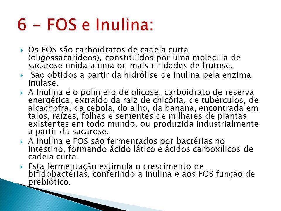 Os FOS são carboidratos de cadeia curta (oligossacarídeos), constituídos por uma molécula de sacarose unida a uma ou mais unidades de frutose.