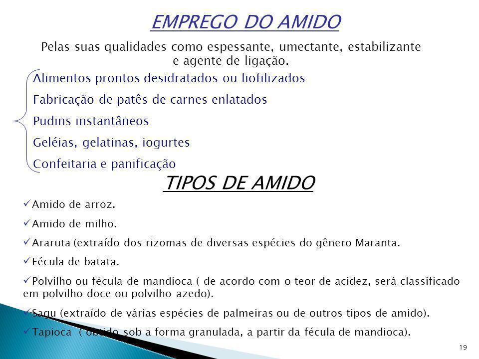19 EMPREGO DO AMIDO Pelas suas qualidades como espessante, umectante, estabilizante e agente de ligação.