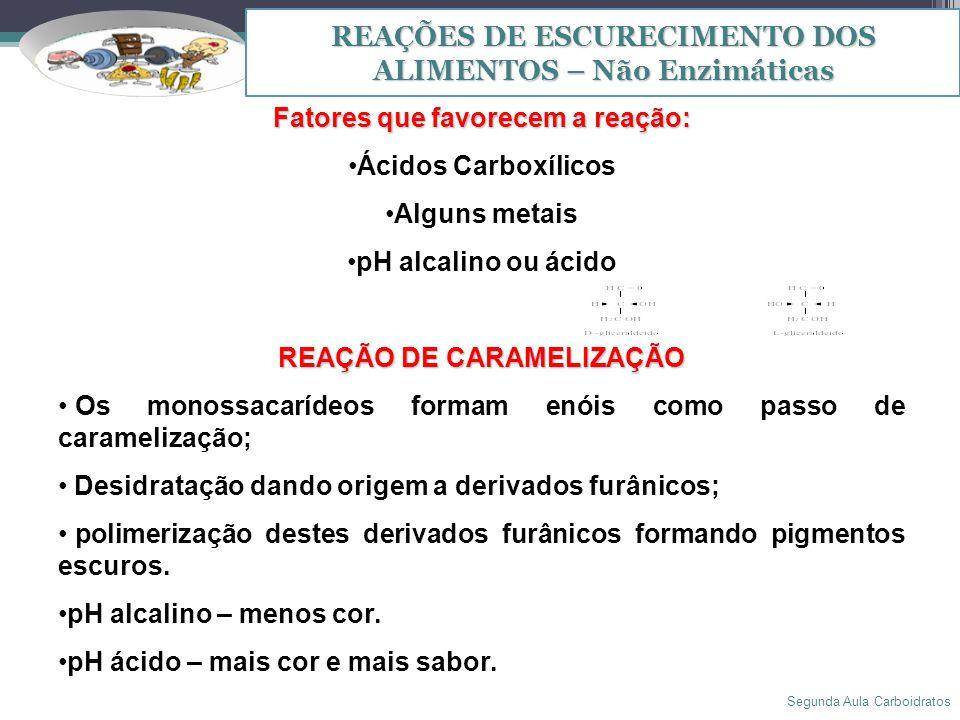 Segunda Aula Carboidratos 16 REAÇÕES DE ESCURECIMENTO DOS ALIMENTOS – Não Enzimáticas Fatores que favorecem a reação: Ácidos Carboxílicos Alguns metai