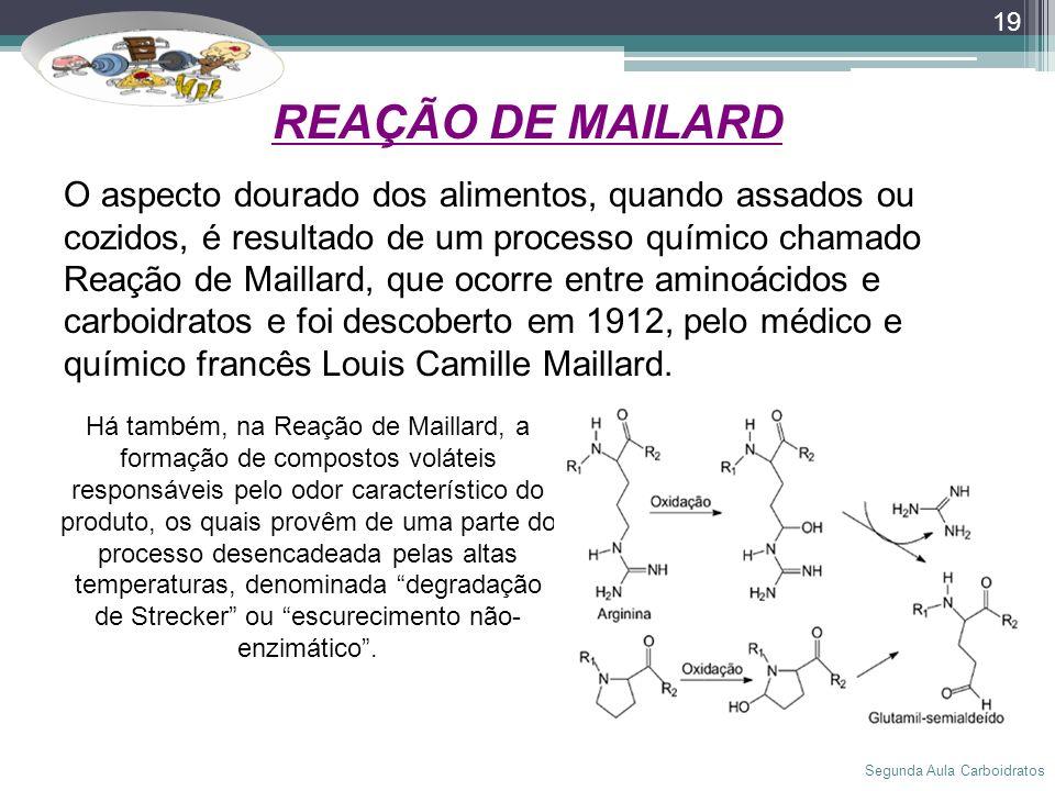 Segunda Aula Carboidratos 19 O aspecto dourado dos alimentos, quando assados ou cozidos, é resultado de um processo químico chamado Reação de Maillard