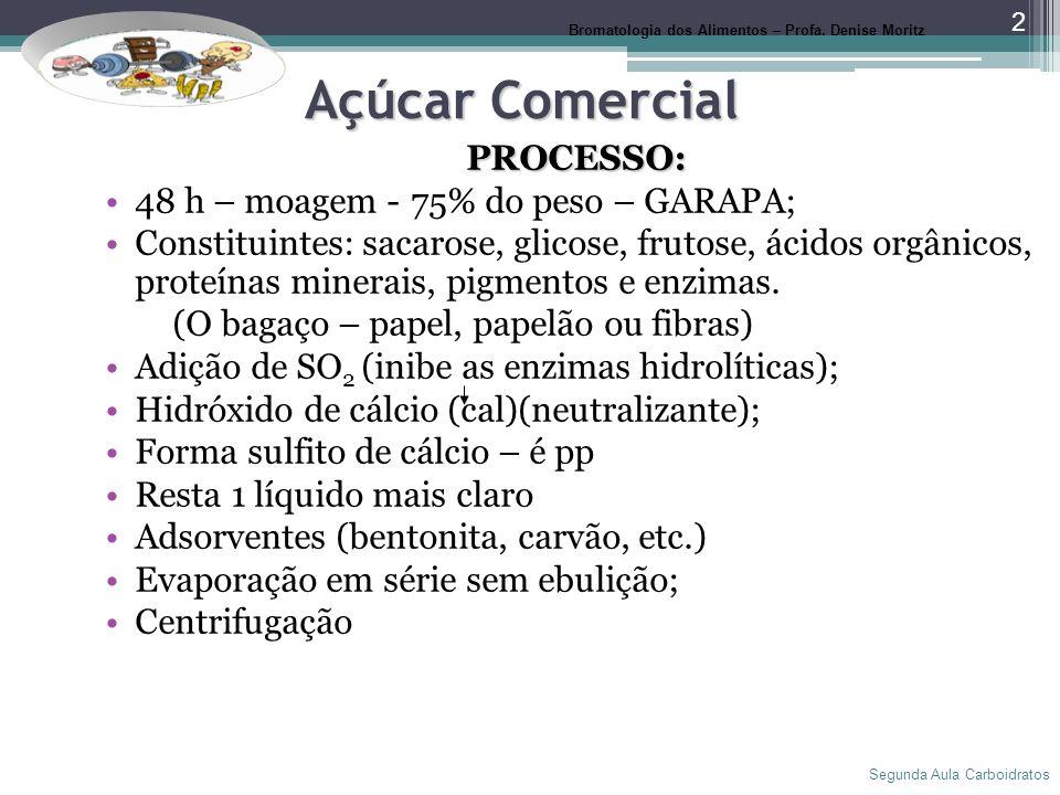 Segunda Aula Carboidratos 2 Açúcar Comercial PROCESSO: 48 h – moagem - 75% do peso – GARAPA; Constituintes: sacarose, glicose, frutose, ácidos orgânic